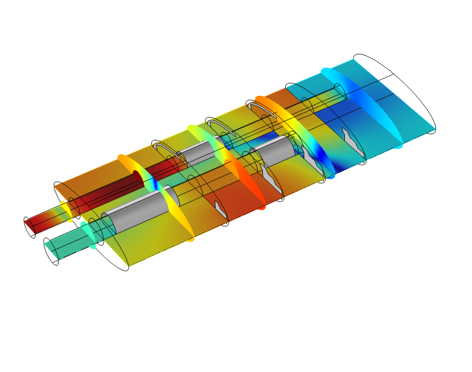 A muffler model using the updated Interior Perforated Plate boundary condition in COMSOL Multiphysics version 5.3.