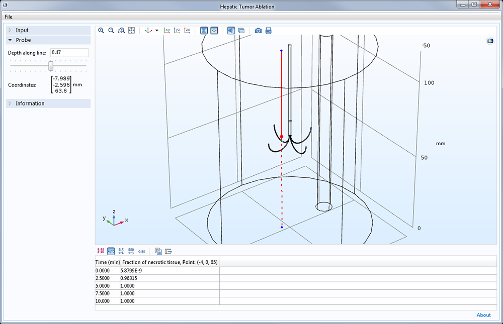 A COMSOL app with the ability to define the position of a probe.