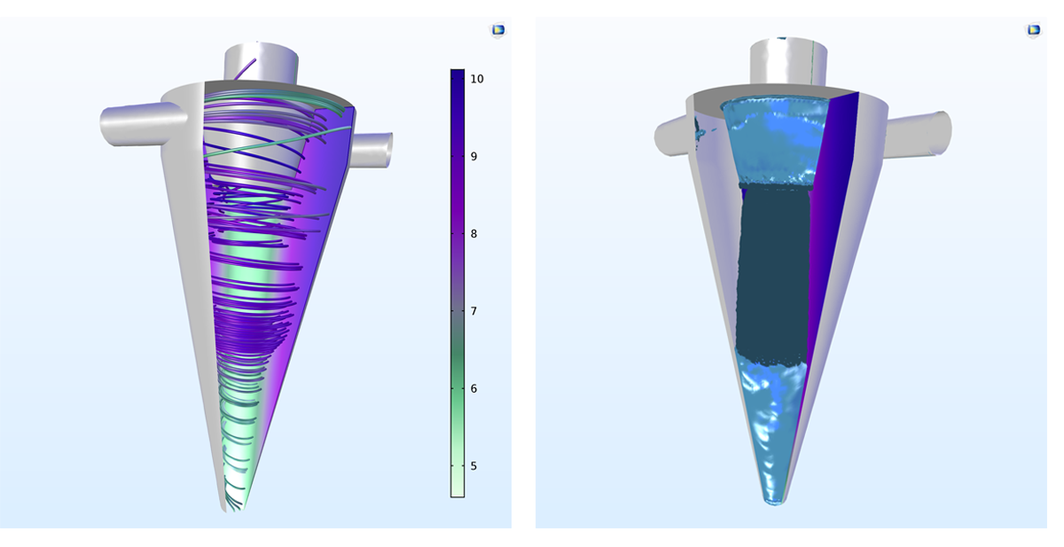 Left: A cyclone separator modeled with the new v2-f turbulence model in COMSOL Multiphysics version 5.3. Right: A cyclone separator model created with COMSOL Multiphysics and the CFD Module.
