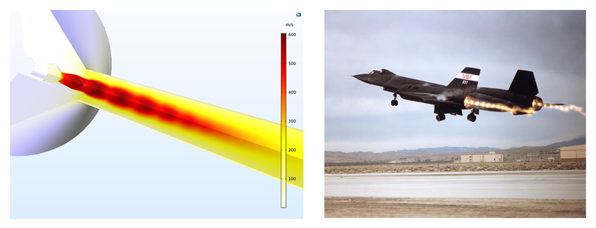 Left: A model of shock diamonds, created with the CFD Module. Right: A photo of an SR-71 jet as a real-world example of shock diamonds.