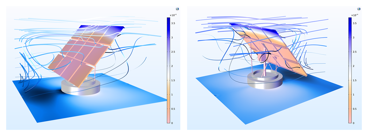 Left: A model that was solved with the SA-AMG solver in COMSOL Multiphysics version 5.3. Right: A solar panel model created with COMSOL Multiphysics version 5.3.