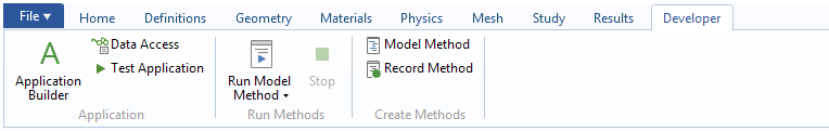 A screenshot of the new Developer tab in the COMSOL Multiphysics ribbon.