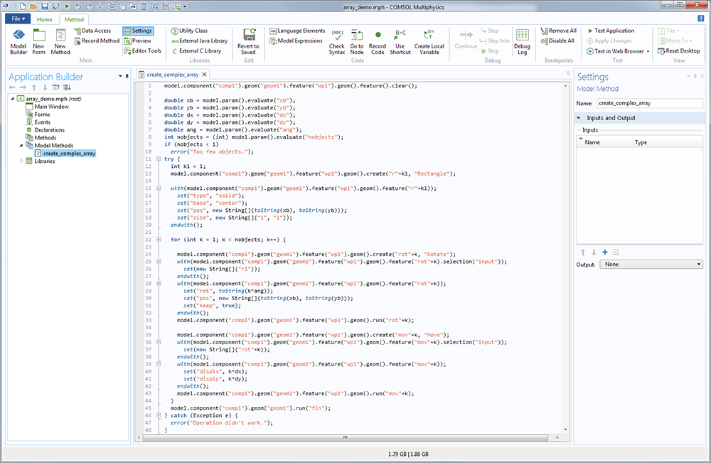 A screenshot of the Method Editor in the Application Builder.