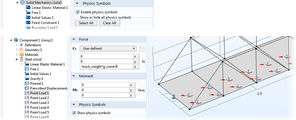 Top: A screenshot showing the Physics Symbols option for Solid Mechanics. Bottom: A screenshot showing the Physics Symbols option for Point Load.