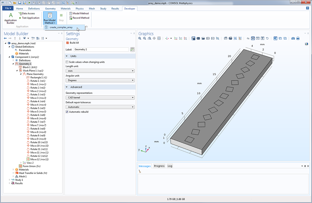 An example of a model being updated via a model method in COMSOL Multiphysics version 5.3.