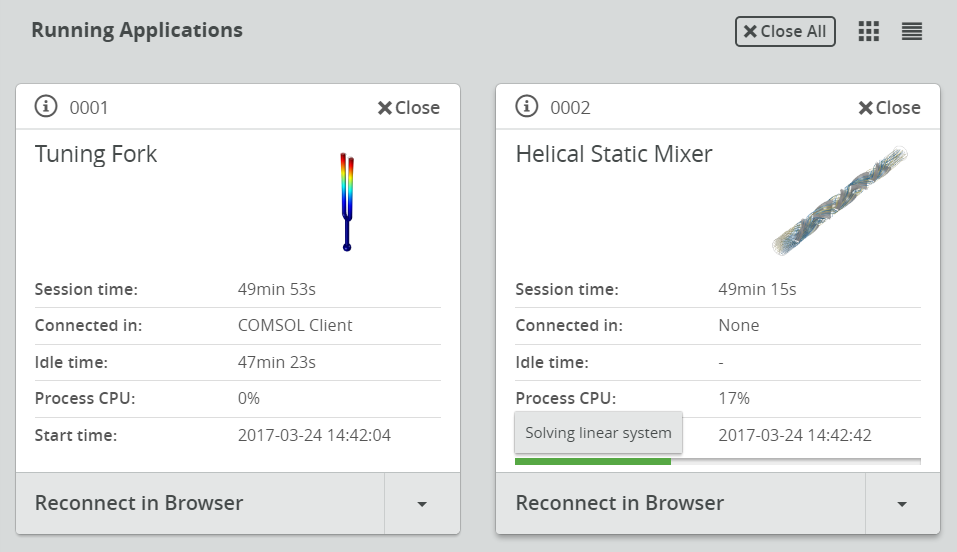 A screenshot of two apps running in the COMSOL Server Application Library.
