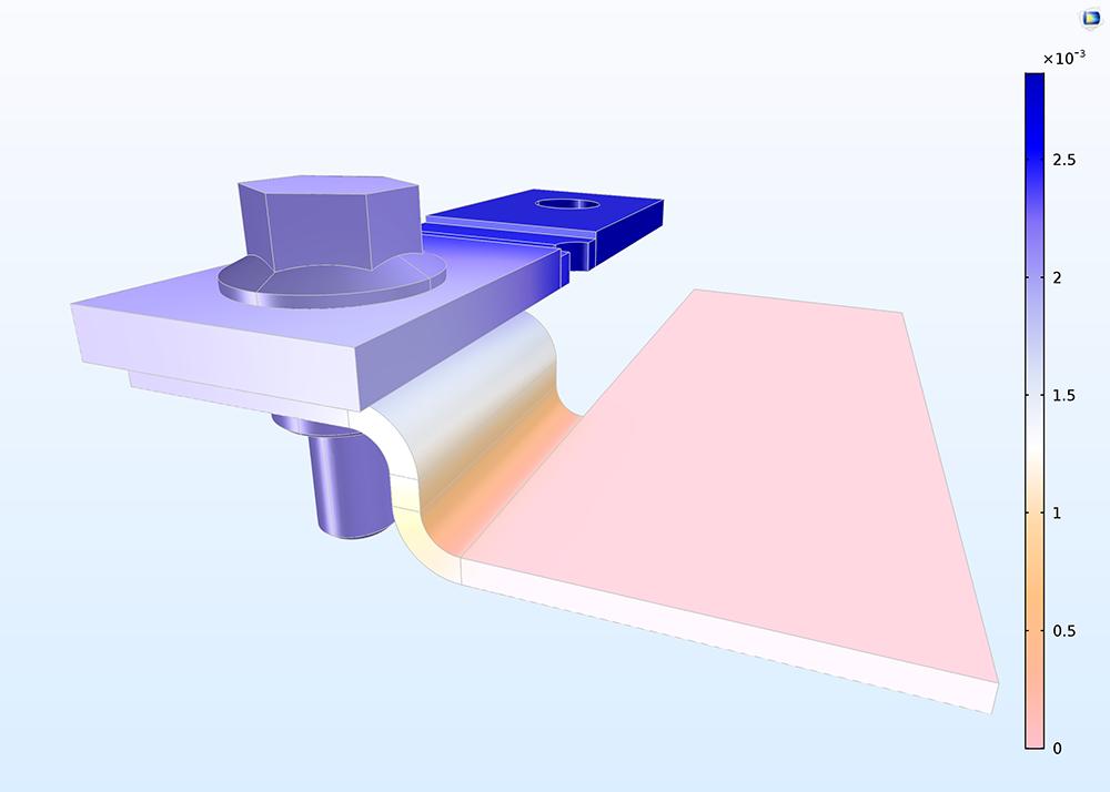 """使用""""電流分佈,殼""""介面創建的模型。"""