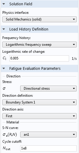 A screenshot of the settings for a vibration fatigue evaluation in the Fatigue Module.