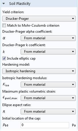 A screenshot of the Drucker-Prager soil model settings in the Geomechanics Module.