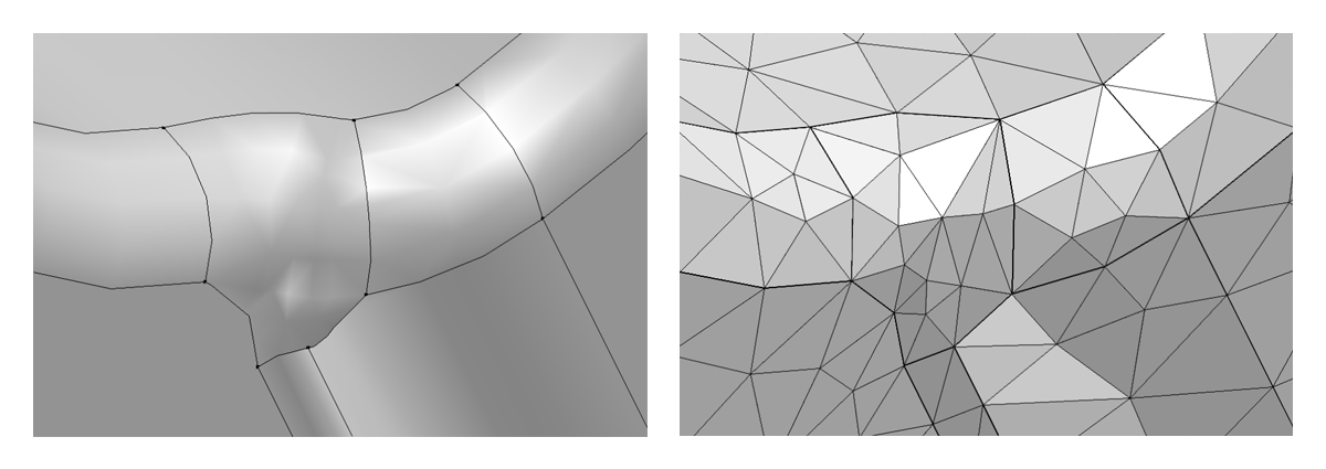 (Left) The improved geometry and mesh after using the Remove Details operation in COMSOL Multiphysics version 5.3. (Right) The improved mesh after removing details from the CAD geometry.