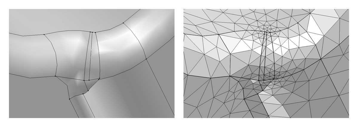 (Left) A CAD geometry before removing details. (Right) The resulting mesh before removing details from the CAD geometry.