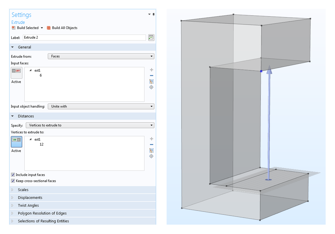 (Left) A screenshot of the Extrude Settings window. (Right) The geometry in the Graphics window with an arrow showing the extrusion distance.