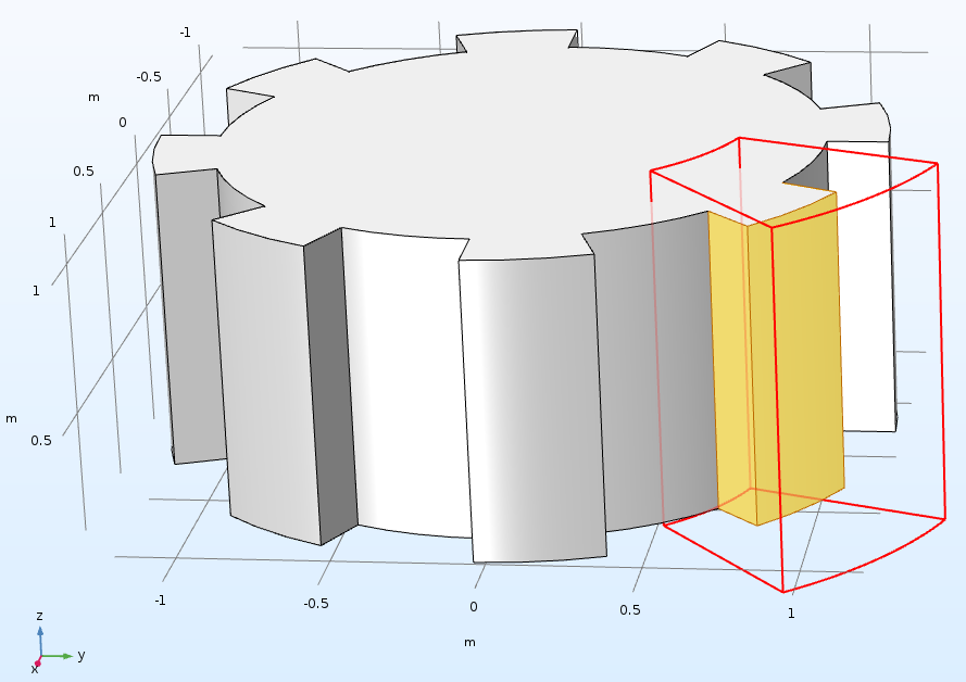 A COMSOL geometry example of the Cylinder selection.