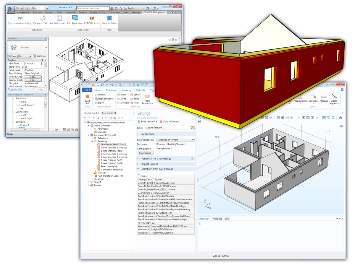 Three images from an example of synchronizing architectural elements via LiveLink for Revit.