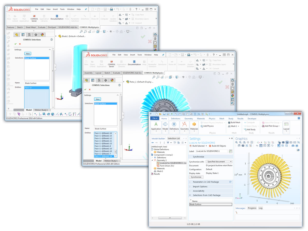 Three images that illustrate synchronizing selections via LiveLink for SOLIDWORKS.