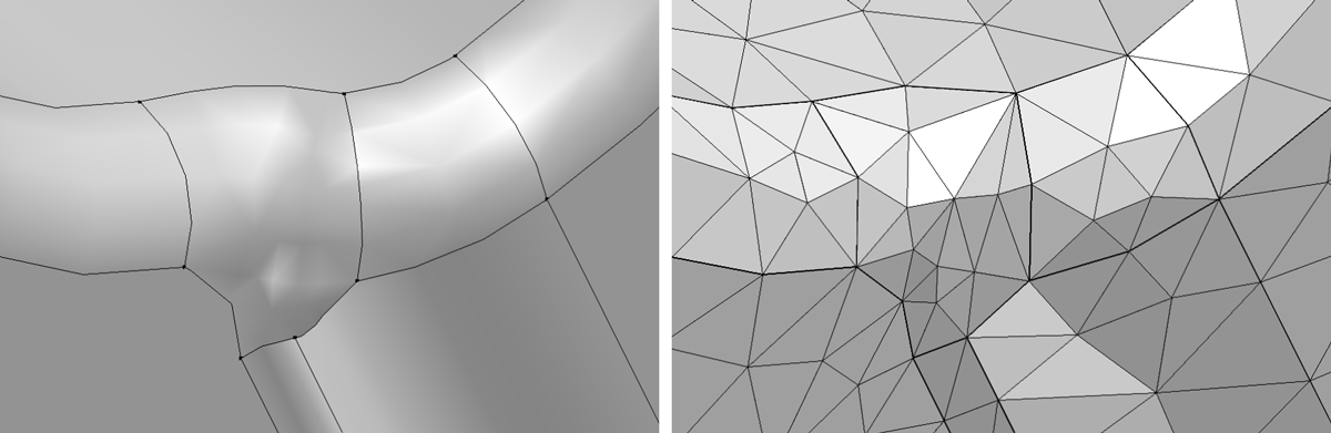 The improved geometry after using the Remove Details operation in COMSOL Multiphysics version 5.3 (left) and the improved mesh after removing details from the CAD geometry (right).