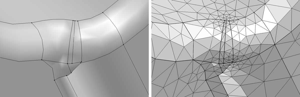A CAD geometry before removing details (left) and the resulting mesh before removing details from the CAD geometry (right).