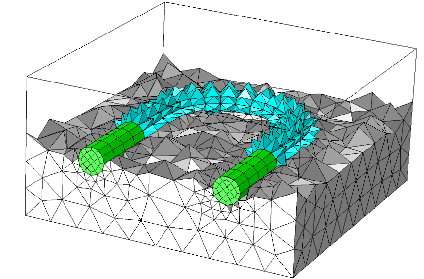 An example of the automatic transitions between hex and tet mesh in COMSOL Multiphysics.