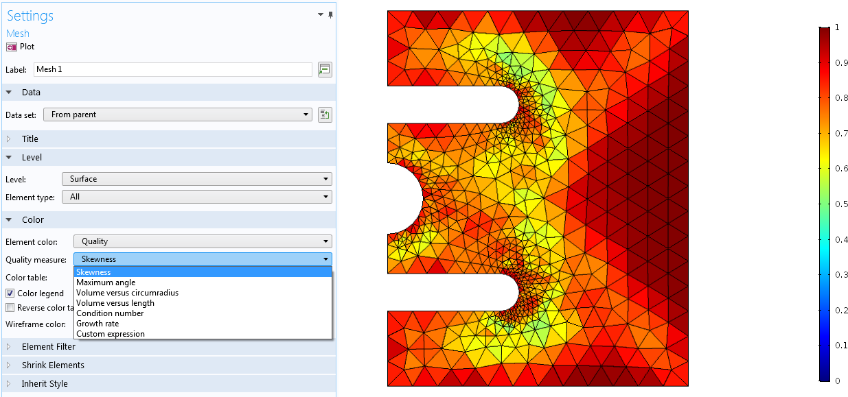 A screenshot of the mesh settings in COMSOL Multiphysics with the Quality measure list expanded (left) and an example of investigating the COMSOL mesh growth rate (right).