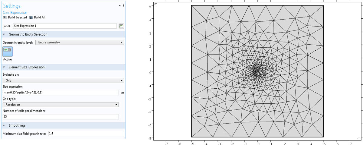A screenshot of the mesh Size Expression settings in COMSOL Multiphysics (left) and a COMSOL mesh where the element size varies based on a user-defined expression (right).