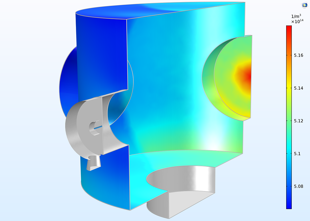 A vacuum chamber model that uses the Plane Symmetry boundary condition, new with COMSOL Multiphysics version 5.3.