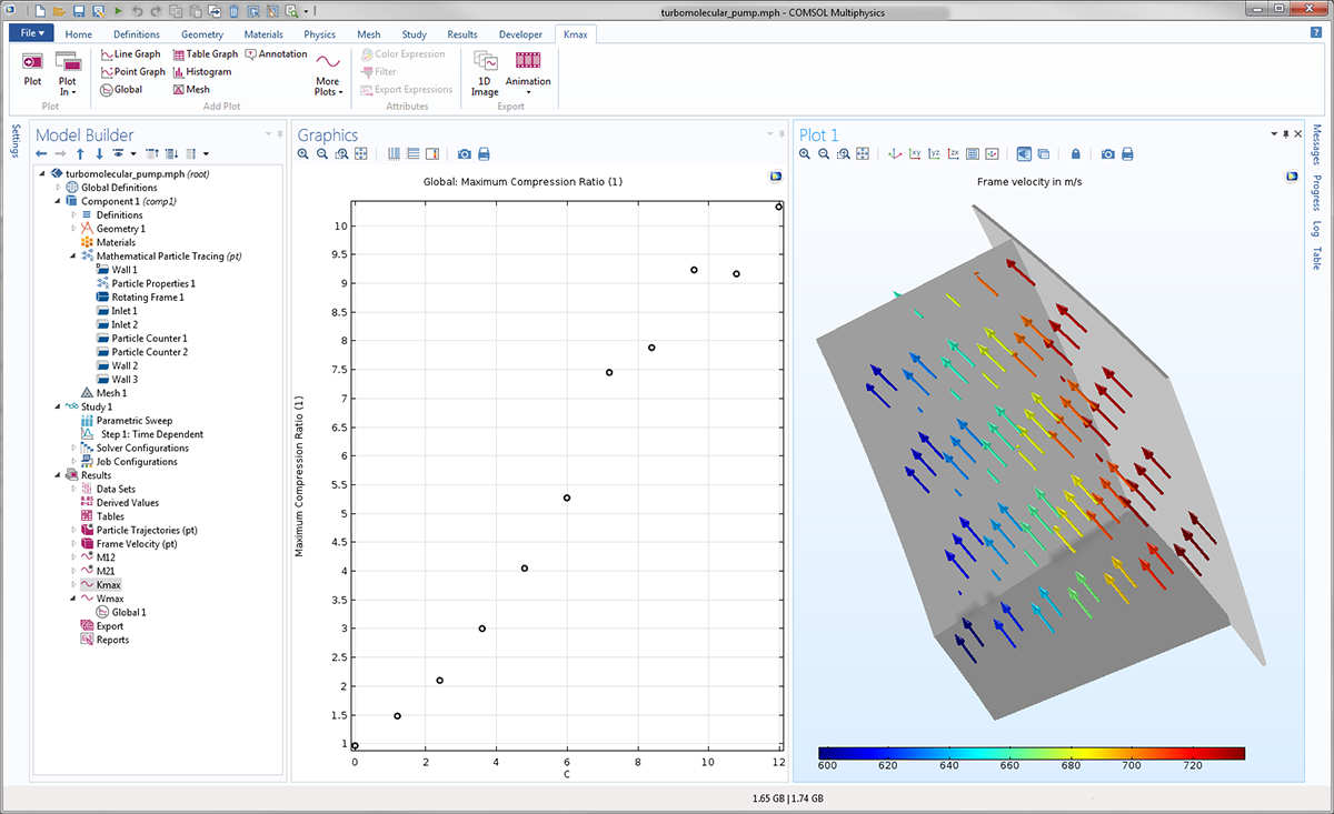 A screenshot of the Turbomolecular Pump model in COMSOL Multiphysics version 5.3.