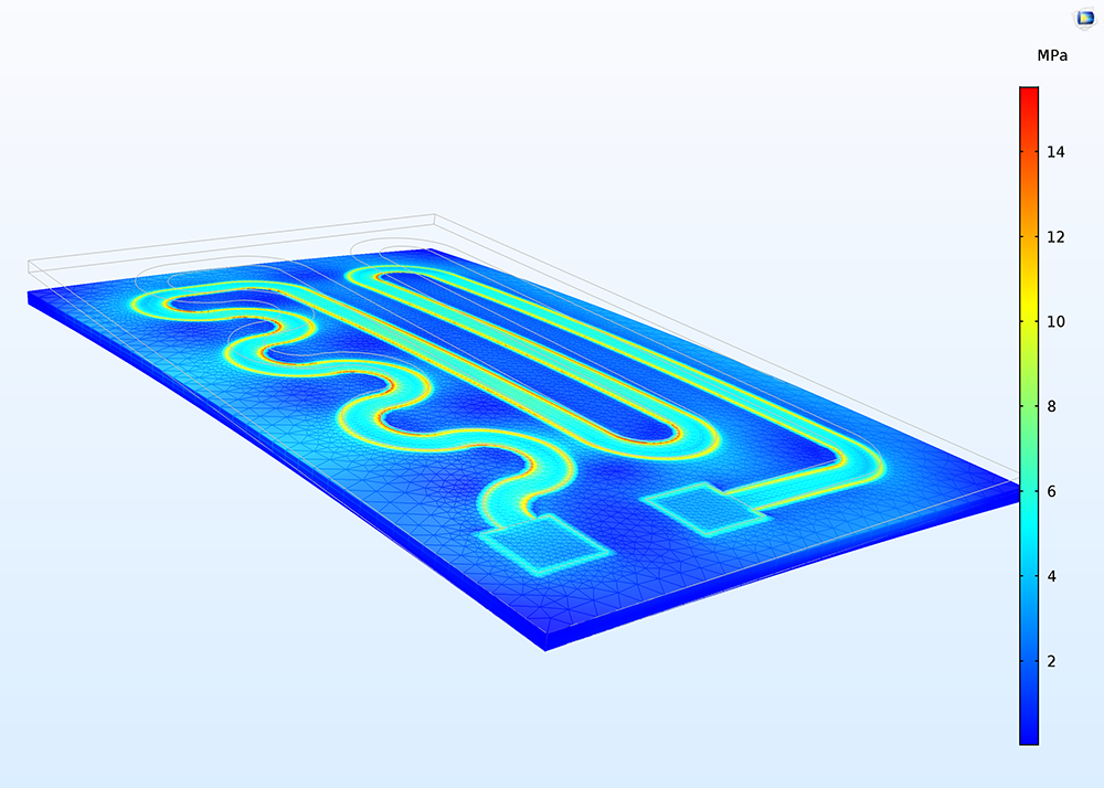 A COMSOL model of a heating circuit with the Rigid Motion Suppression condition applied.