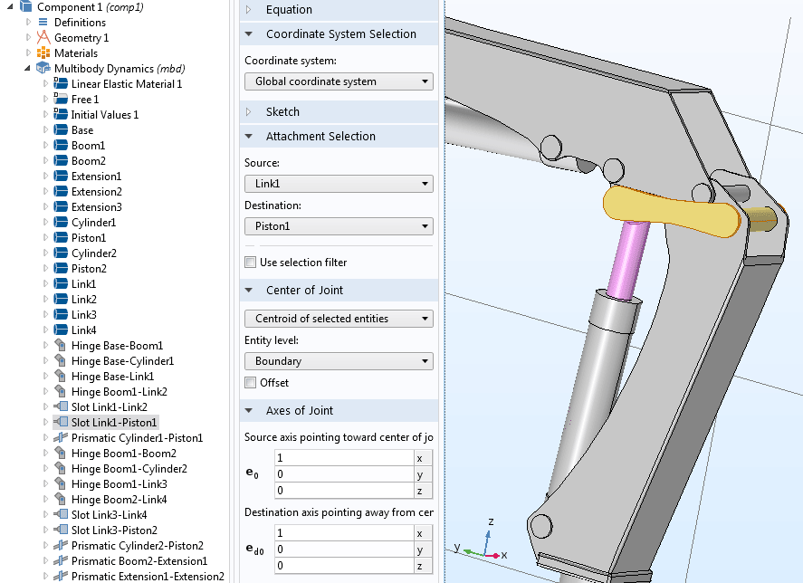 A demonstration of the automatic highlighting of selections in multibody dynamics analyses.