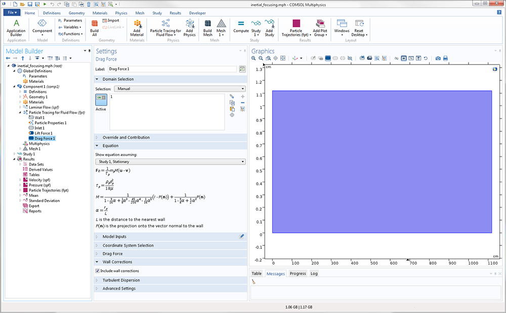 A screenshot of the COMSOL software GUI with the Include wall corrections option selected.