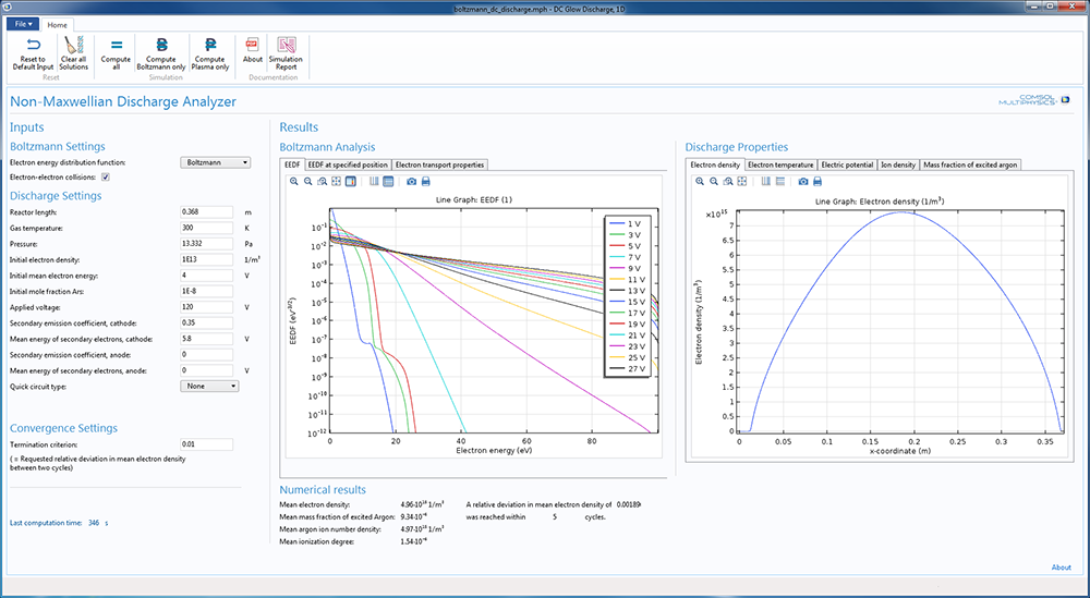 A screenshot of the Boltzmann DC Glow Discharge app made with the Plasma Module.