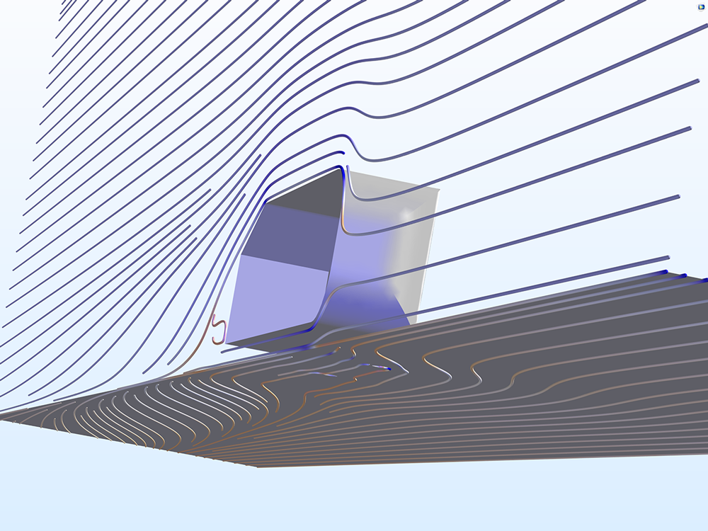 A COMSOL model showing the Streamline surface plot using the Twilight color table.
