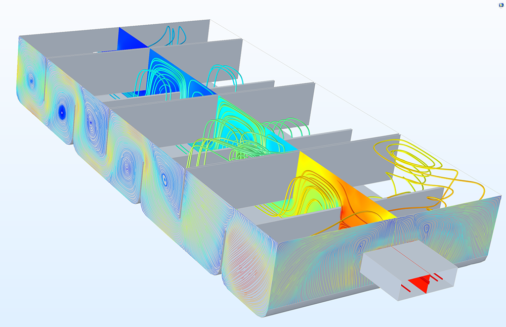 A water treatment basin model featuring the Streamline surface plot type in COMSOL Multiphysics.