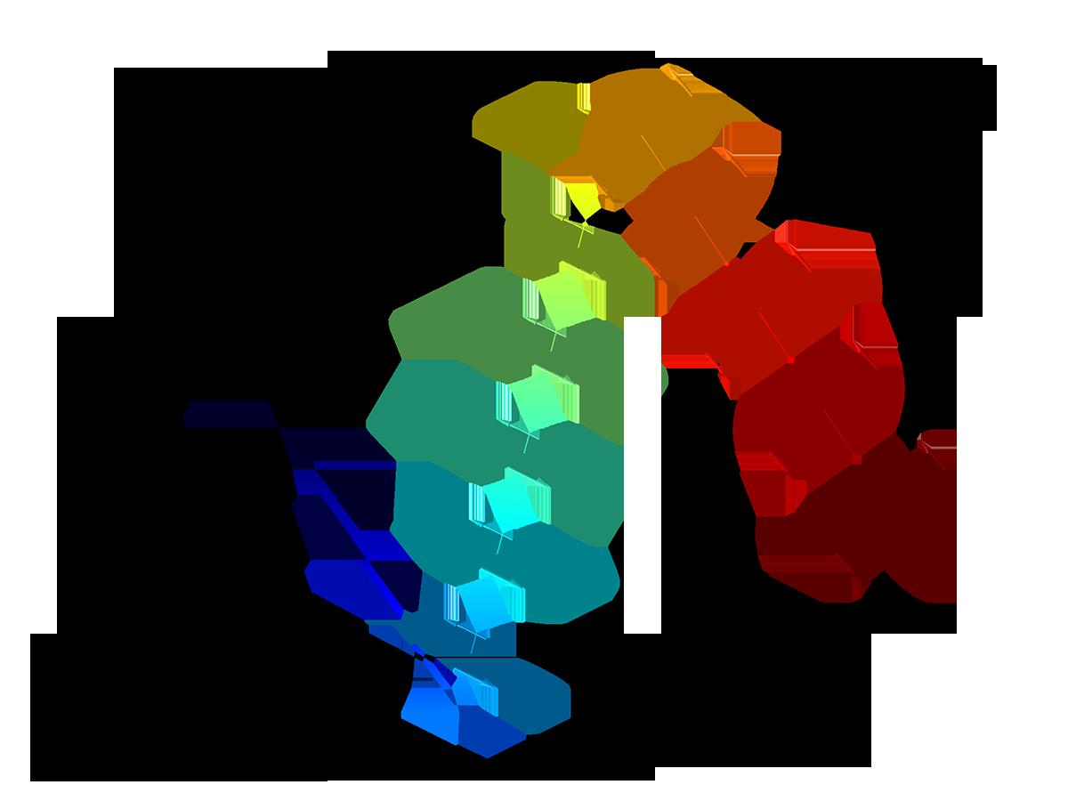 """""""射線光學模組""""中""""菲涅耳菱形鏡""""教學模型的繪圖。"""