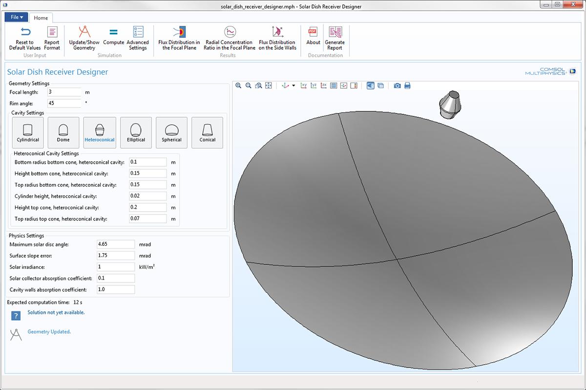 "COMSOL Multiphysics 5.3 版本中新增的""太陽能腔式接收器設計器""App。"