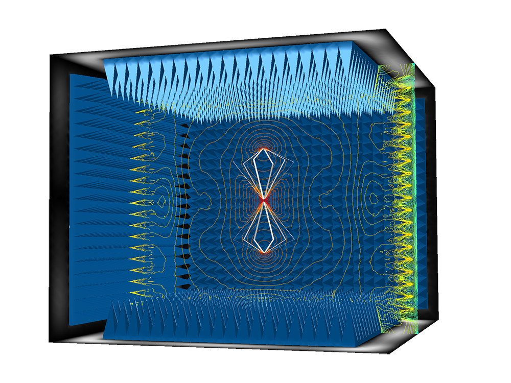 An anechoic chamber absorbing electromagnetic waves, new with COMSOL Multiphysics version 5.3.