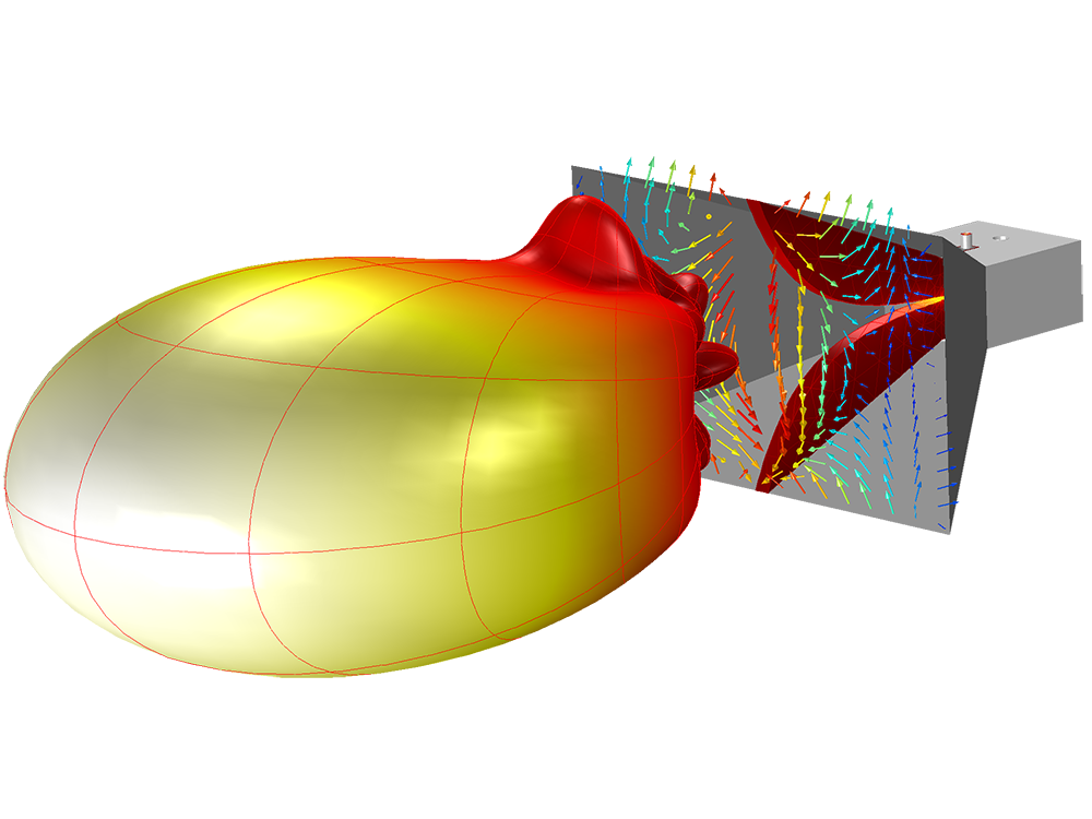 A COMSOL tutorial model of a double-ridged horn antenna.
