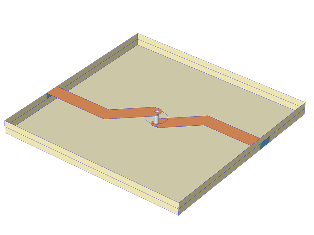 A model of two microstrip lines connected with a metalized via hole.