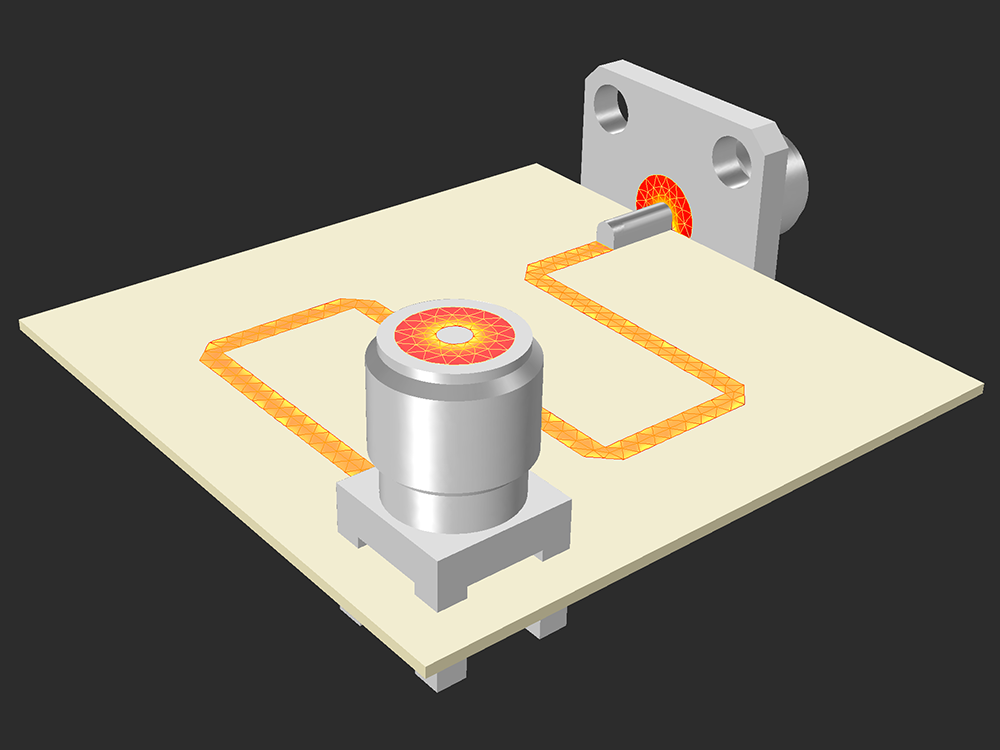 A model featuring two SMA connectors from the RF Part Library in COMSOL software version 5.3.