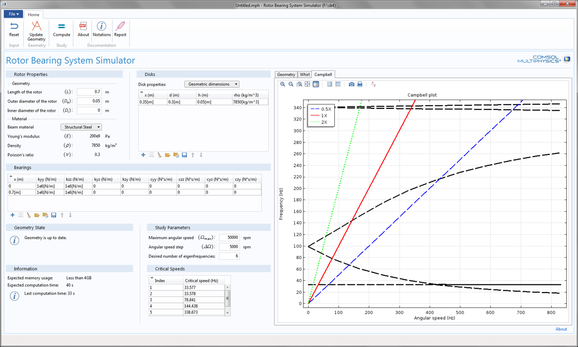 A COMSOL app for simulating rotor bearing systems.