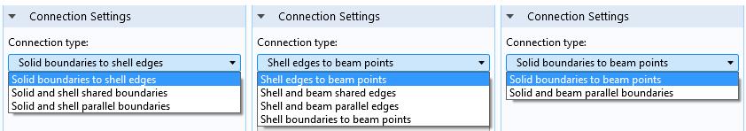 """這三個屏幕截屏顯示了""""結構力學模組""""中的各種""""連接設置""""。"""