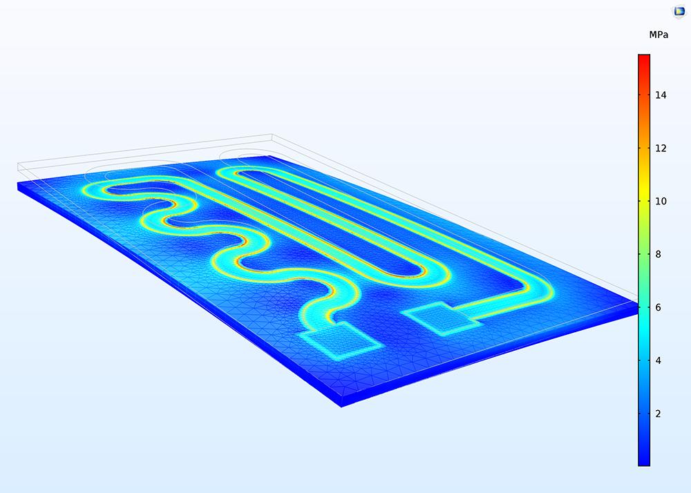 """應用""""剛體運動抑制""""條件後受熱電路的COMSOL 模型。"""