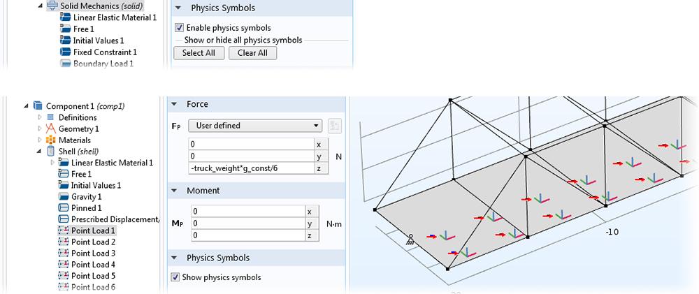 """上圖:顯示""""固體力學""""對應的""""物理符號""""選項的屏幕截圖。 下圖:顯示""""點載荷""""對應的""""物理符號""""選項的屏幕截圖。"""
