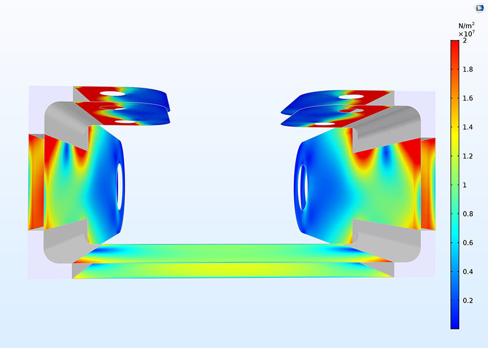 A COMSOL plot of a bracket with stresses on both sides of the shells.