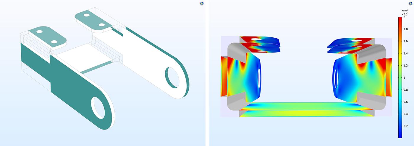 左圖:支架的幾何結構。 右圖:殼兩側受到應力作用的支架的COMSOL 繪圖。