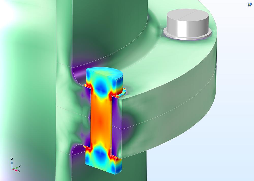 """使用""""結構力學模組""""創建的預張緊螺栓的應力圖。"""