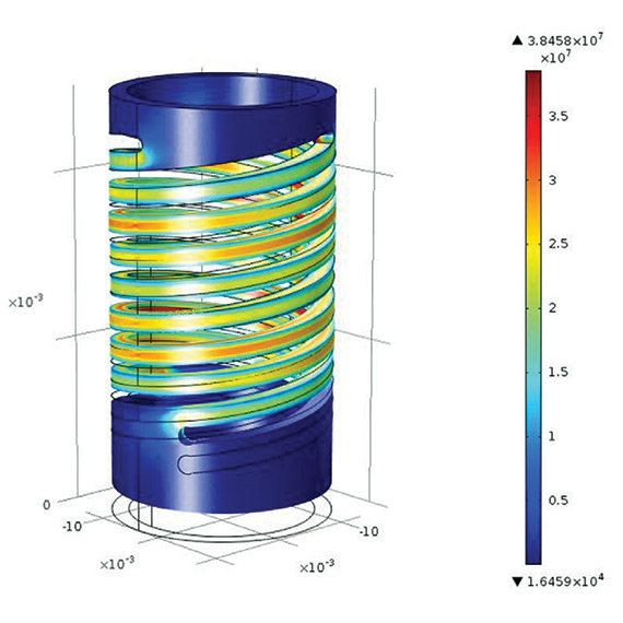 Simulation of the energy harvester, showing von Mises stress.