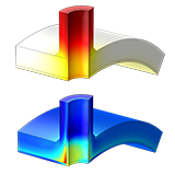 Temperature-dependent materials are explored in this model. A fast temperature transient (top) can lead to high stresses (bottom).