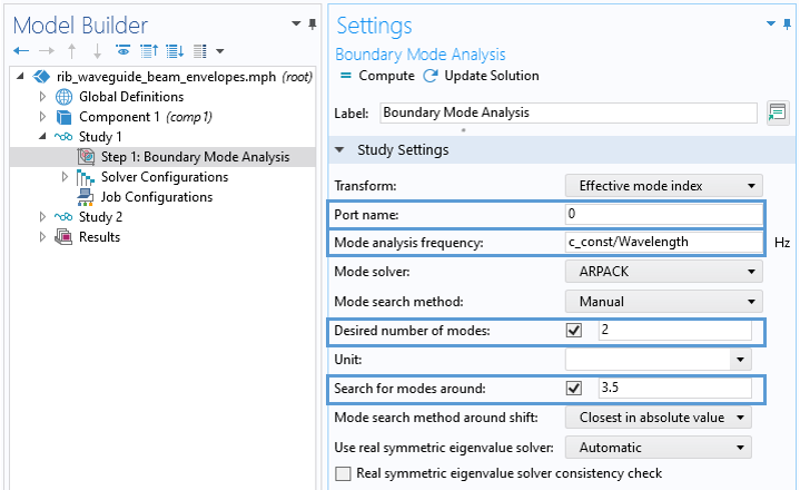 A screenshot of the Settings window for a boundary mode analysis, with the Port name, Mode analysis frequency, Desired number of modes, and Search for modes around options in the Study Settings section highlighted.
