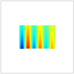 A small square of rainbow sample data on a larger white background.