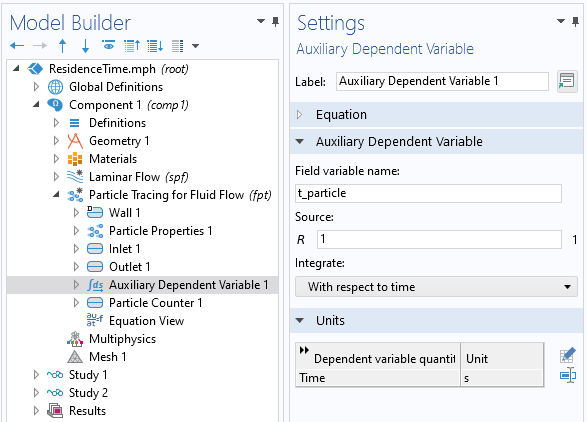 A screenshot of the Settings window for the Auxiliary Dependent Variable feature, with the Auxiliary Dependent Variable and Units sections expanded.